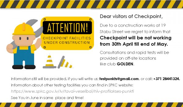 Checkpoint closed for construction works in May